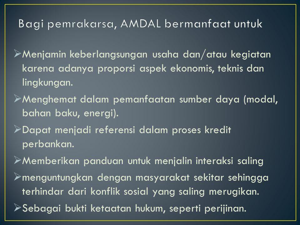 Bagi pemrakarsa, AMDAL bermanfaat untuk