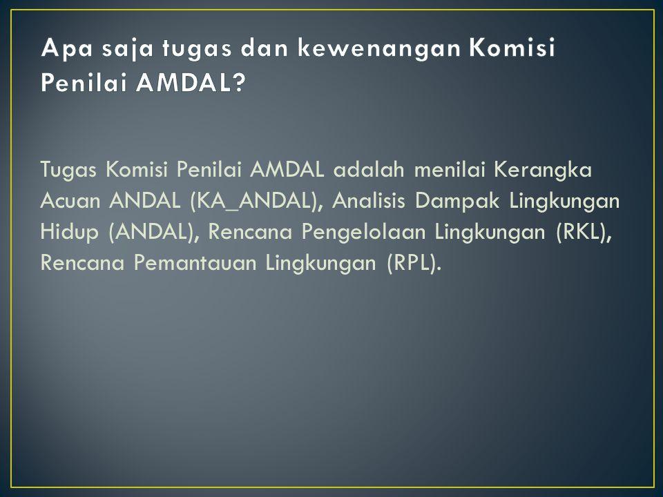 Apa saja tugas dan kewenangan Komisi Penilai AMDAL