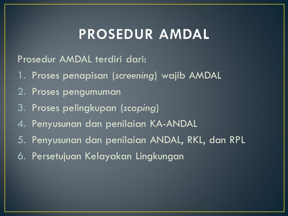 PROSEDUR AMDAL Prosedur AMDAL terdiri dari: