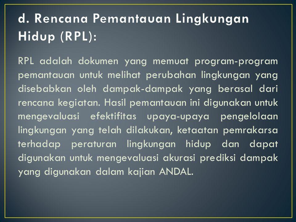 d. Rencana Pemantauan Lingkungan Hidup (RPL):