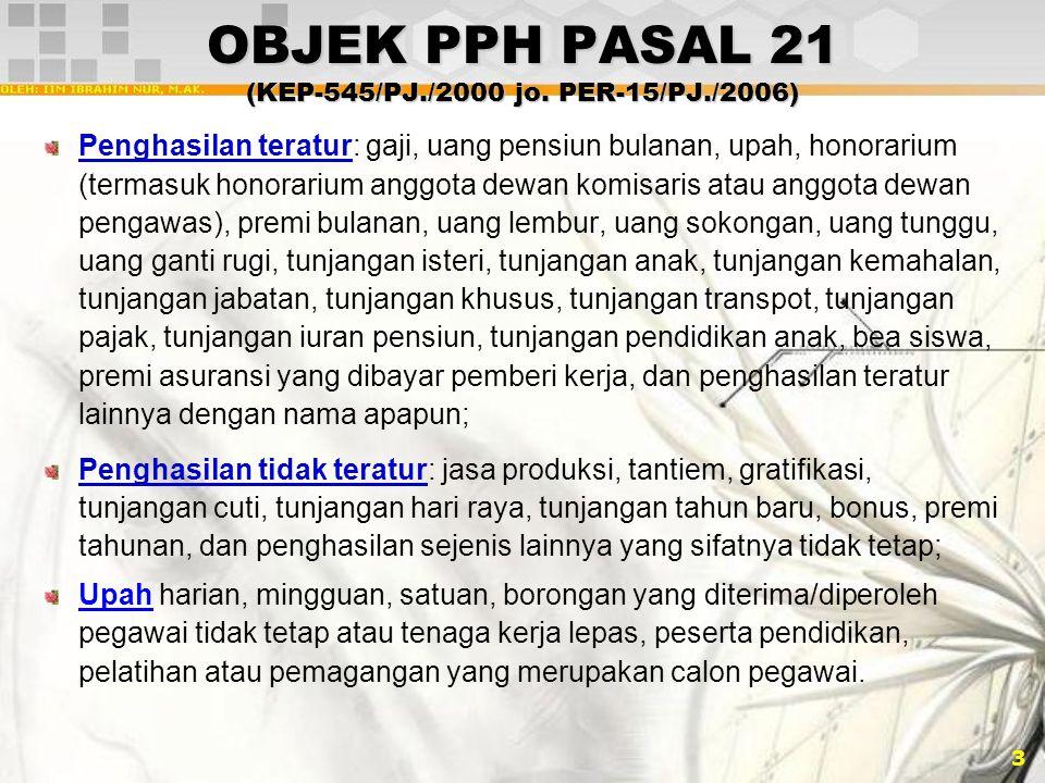 OBJEK PPH PASAL 21 (KEP-545/PJ./2000 jo. PER-15/PJ./2006)
