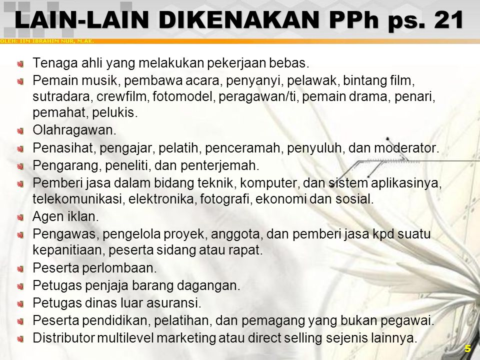 LAIN-LAIN DIKENAKAN PPh ps. 21