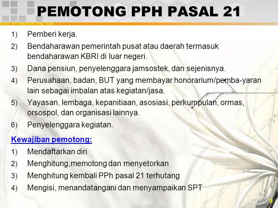 PEMOTONG PPH PASAL 21 Pemberi kerja.