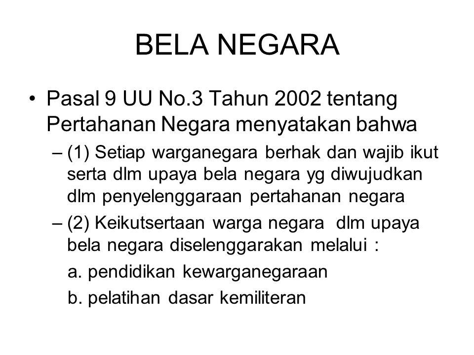 BELA NEGARA Pasal 9 UU No.3 Tahun 2002 tentang Pertahanan Negara menyatakan bahwa.