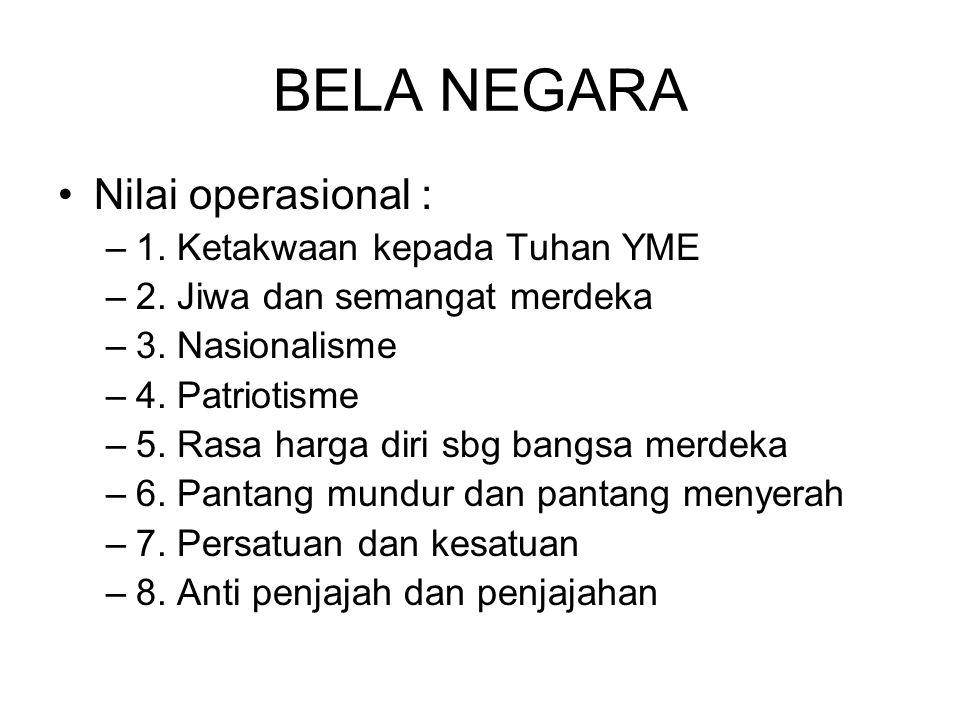 BELA NEGARA Nilai operasional : 1. Ketakwaan kepada Tuhan YME
