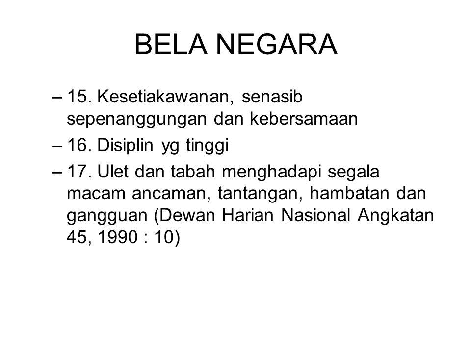 BELA NEGARA 15. Kesetiakawanan, senasib sepenanggungan dan kebersamaan