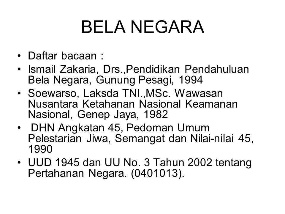 BELA NEGARA Daftar bacaan :
