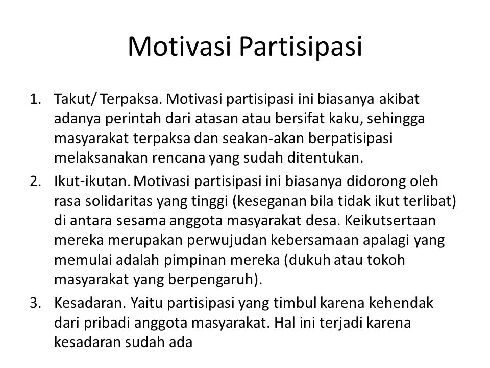 Motivasi Partisipasi