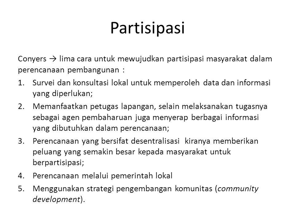 Partisipasi Conyers → lima cara untuk mewujudkan partisipasi masyarakat dalam perencanaan pembangunan :