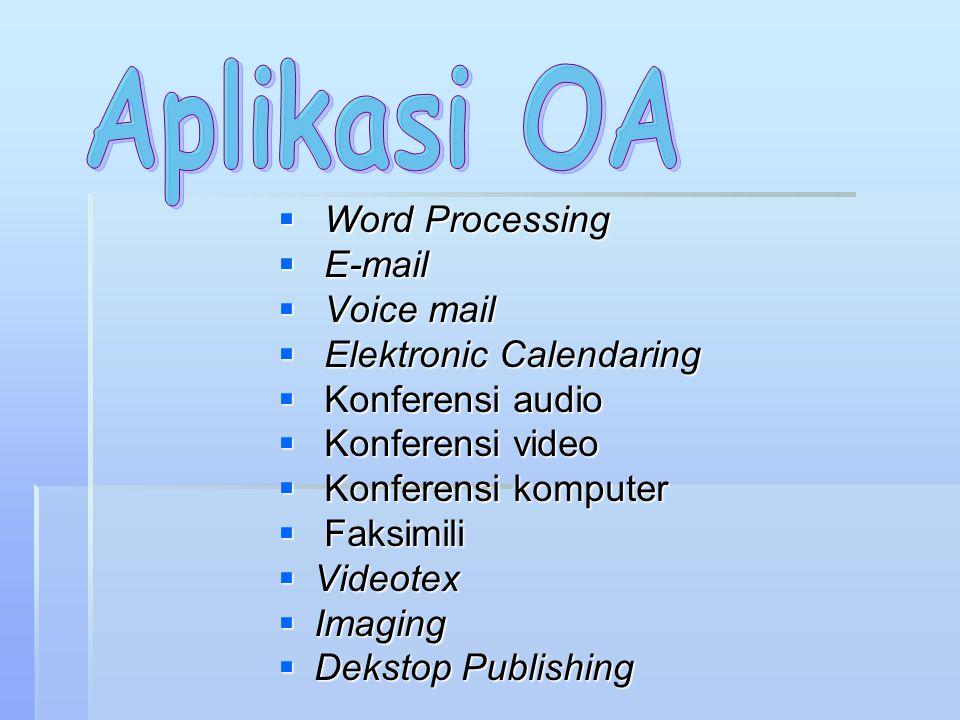 Aplikasi OA Word Processing E-mail Voice mail Elektronic Calendaring
