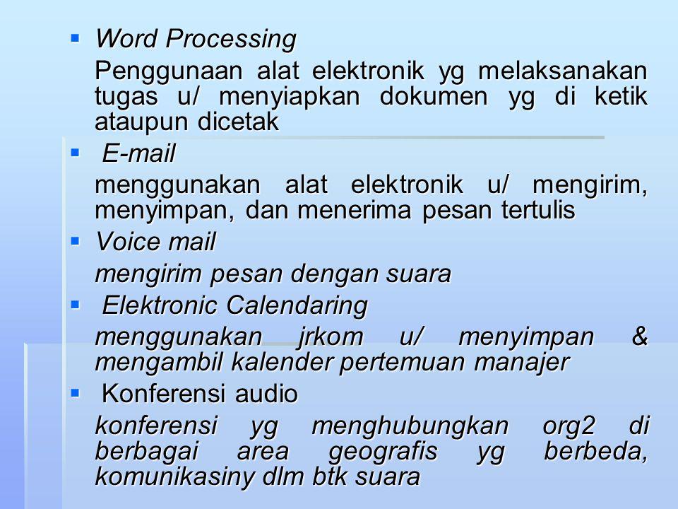 Word Processing Penggunaan alat elektronik yg melaksanakan tugas u/ menyiapkan dokumen yg di ketik ataupun dicetak.