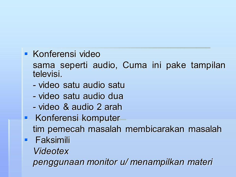 Konferensi video sama seperti audio, Cuma ini pake tampilan televisi. - video satu audio satu. - video satu audio dua.