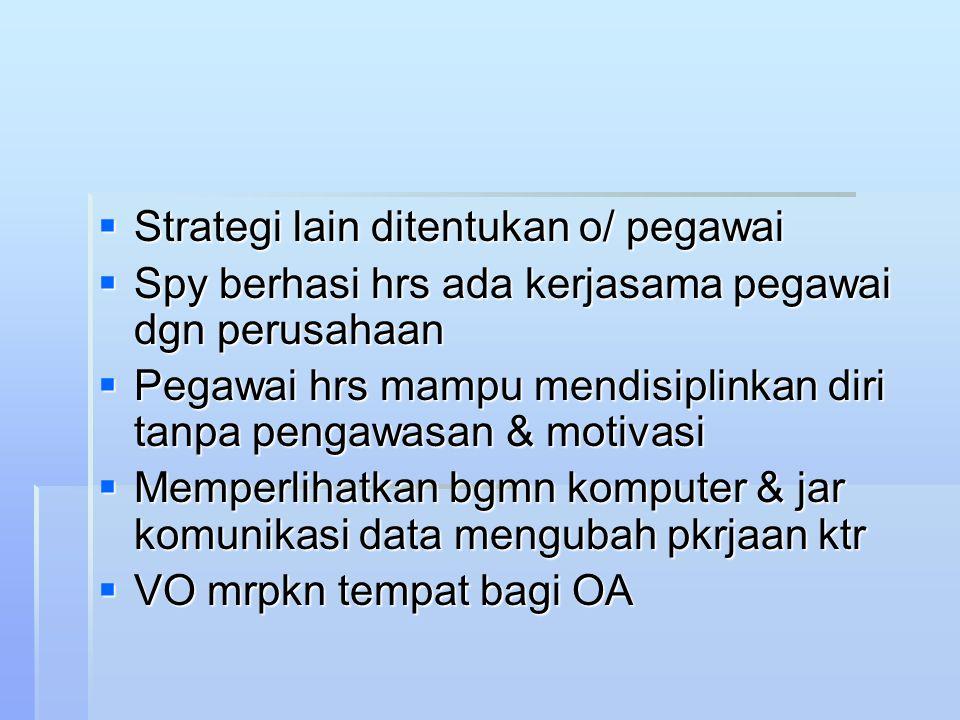 Strategi lain ditentukan o/ pegawai