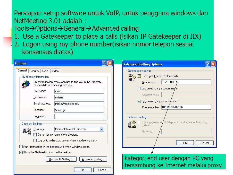 Persiapan setup software untuk VoIP, untuk pengguna windows dan