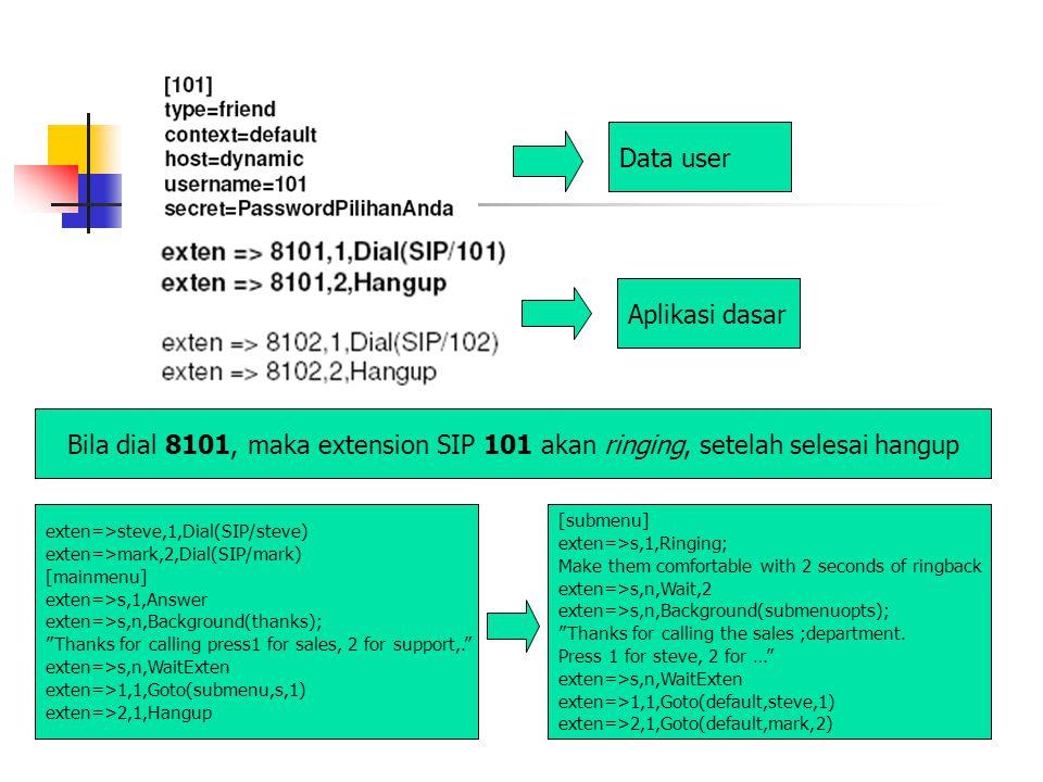 Data user Aplikasi dasar