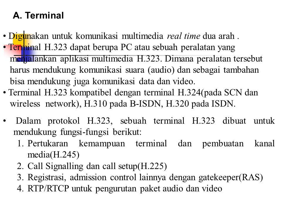 A. Terminal Digunakan untuk komunikasi multimedia real time dua arah . Terminal H.323 dapat berupa PC atau sebuah peralatan yang.