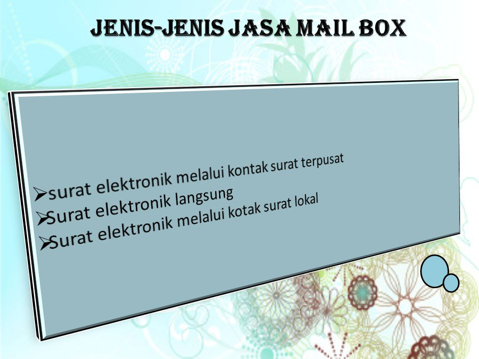 Jenis-jenis jasa mail box