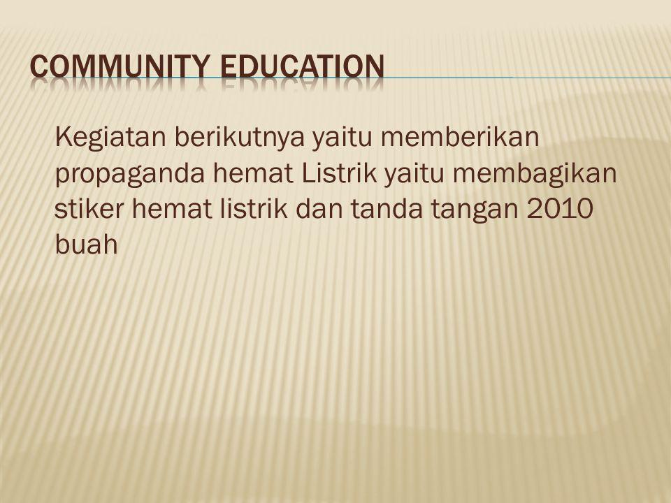 Community education Kegiatan berikutnya yaitu memberikan propaganda hemat Listrik yaitu membagikan stiker hemat listrik dan tanda tangan 2010 buah.
