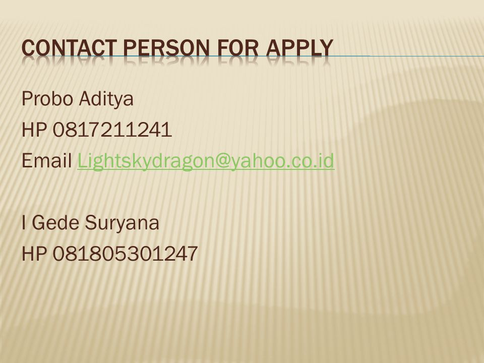 Contact Person For aPply