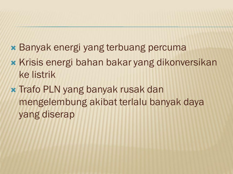 Banyak energi yang terbuang percuma