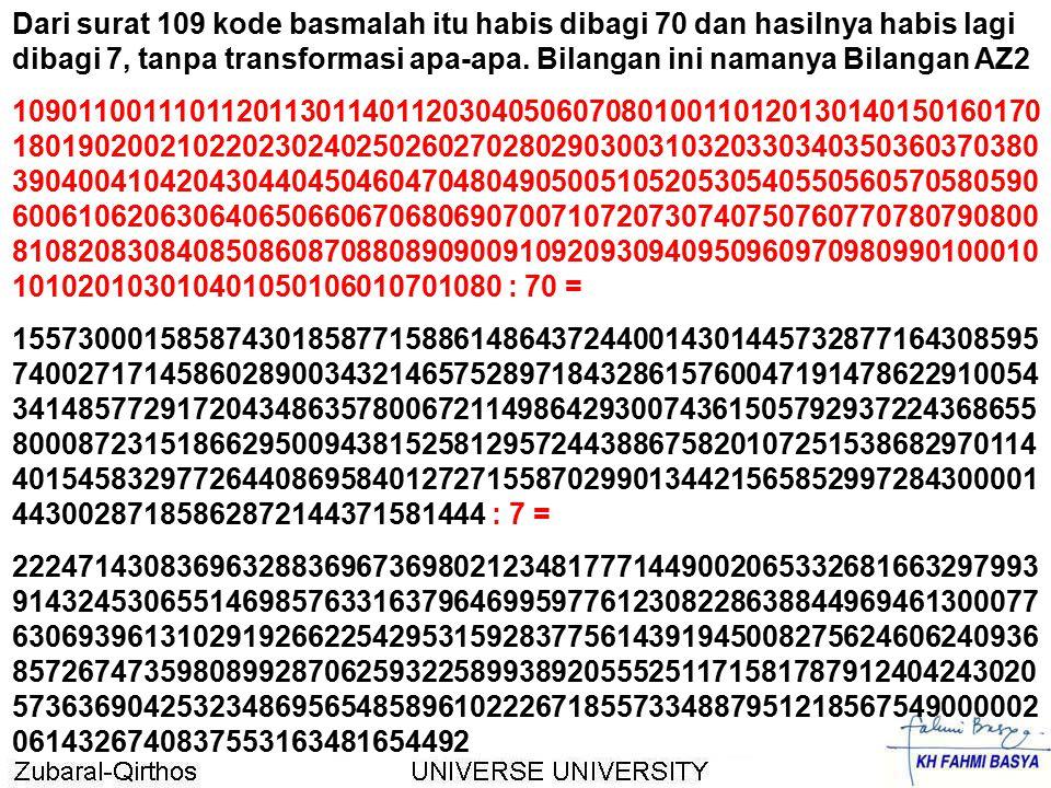 Dari surat 109 kode basmalah itu habis dibagi 70 dan hasilnya habis lagi dibagi 7, tanpa transformasi apa-apa. Bilangan ini namanya Bilangan AZ2
