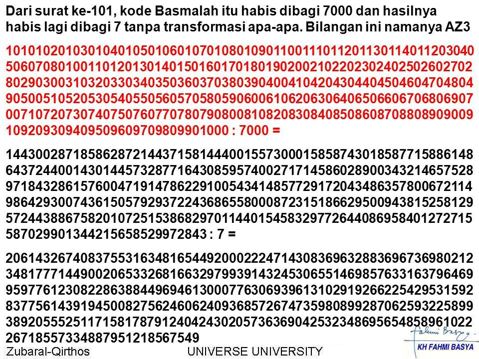 Dari surat ke-101, kode Basmalah itu habis dibagi 7000 dan hasilnya habis lagi dibagi 7 tanpa transformasi apa-apa. Bilangan ini namanya AZ3