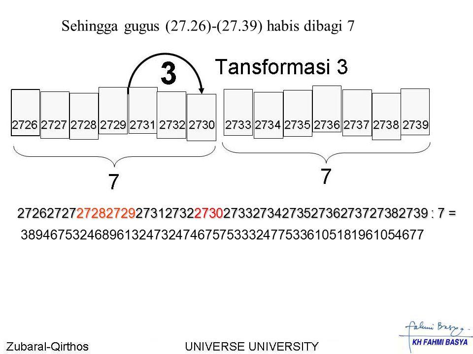 Sehingga gugus (27.26)-(27.39) habis dibagi 7