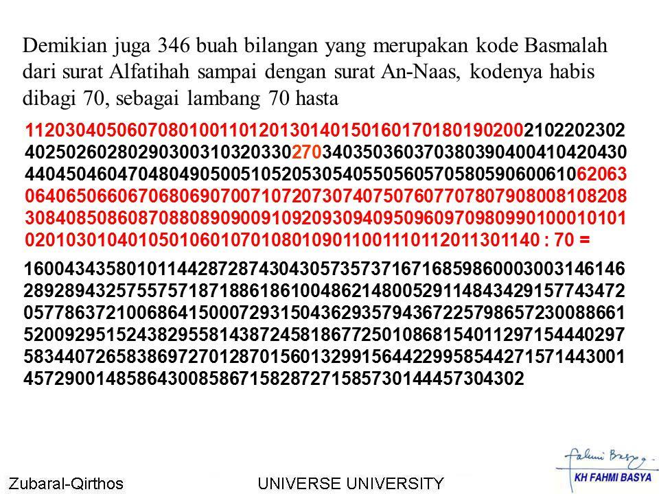 Demikian juga 346 buah bilangan yang merupakan kode Basmalah dari surat Alfatihah sampai dengan surat An-Naas, kodenya habis dibagi 70, sebagai lambang 70 hasta