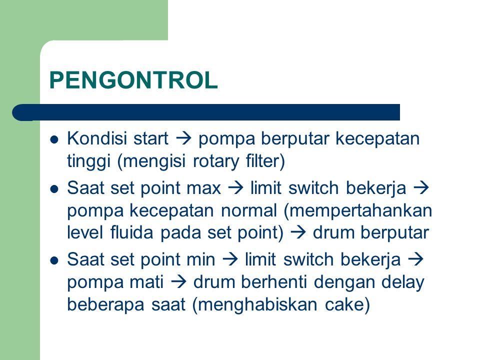 PENGONTROL Kondisi start  pompa berputar kecepatan tinggi (mengisi rotary filter)