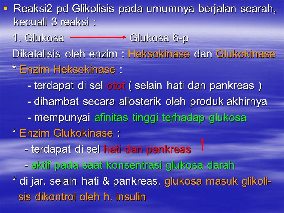 Reaksi2 pd Glikolisis pada umumnya berjalan searah, kecuali 3 reaksi :