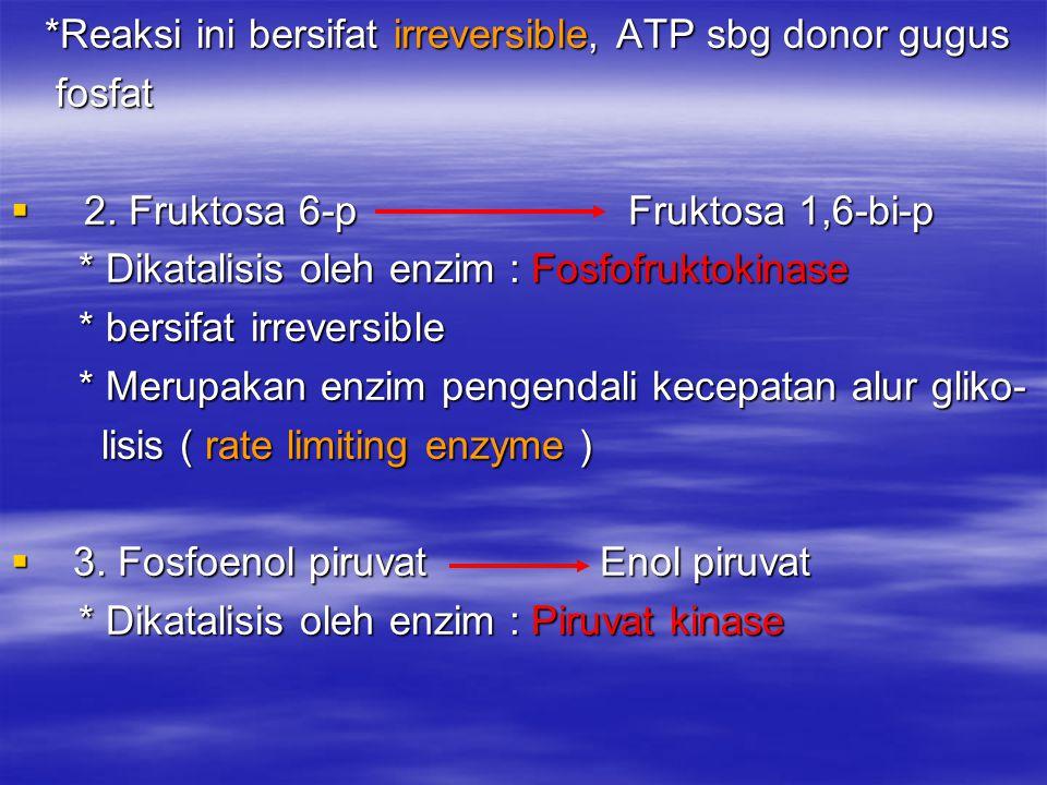 *Reaksi ini bersifat irreversible, ATP sbg donor gugus