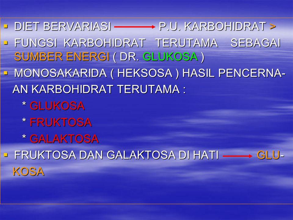 DIET BERVARIASI P.U. KARBOHIDRAT >