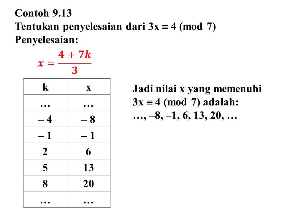 Contoh 9.13 Tentukan penyelesaian dari 3x  4 (mod 7) Penyelesaian: k. x. … – 4. – 8. – 1. 2.