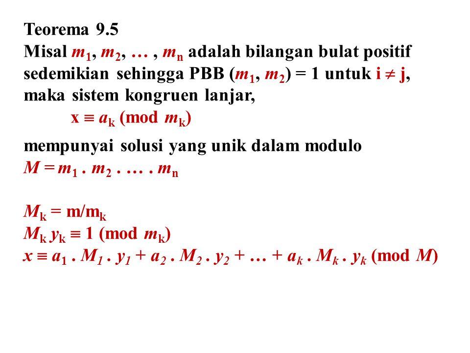 Teorema 9.5 Misal m1, m2, … , mn adalah bilangan bulat positif. sedemikian sehingga PBB (m1, m2) = 1 untuk i  j,