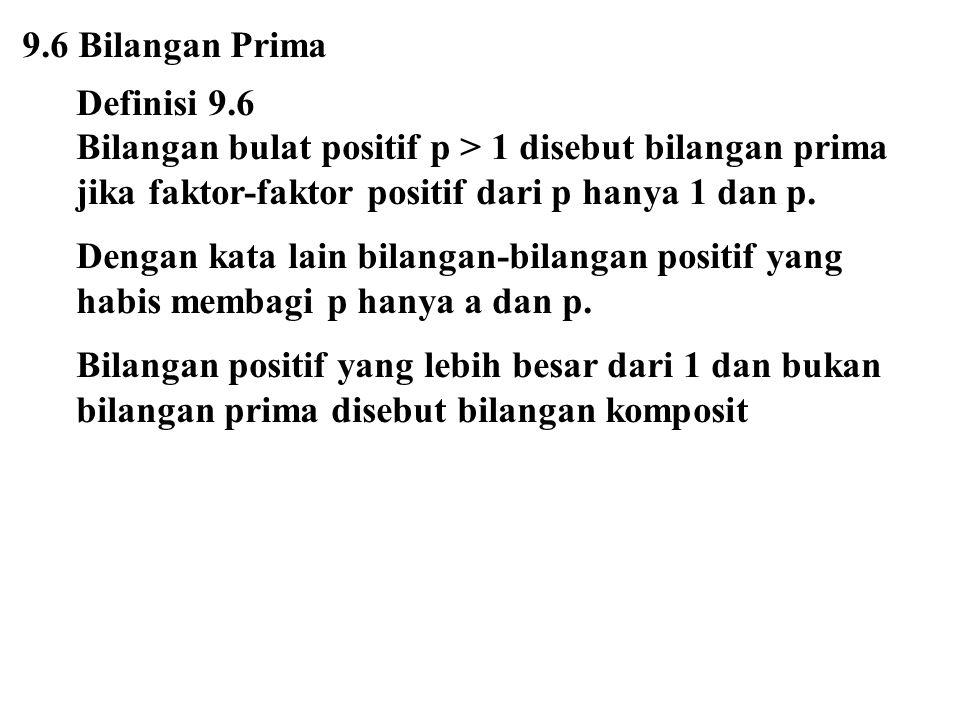 9.6 Bilangan Prima Definisi 9.6. Bilangan bulat positif p > 1 disebut bilangan prima jika faktor-faktor positif dari p hanya 1 dan p.