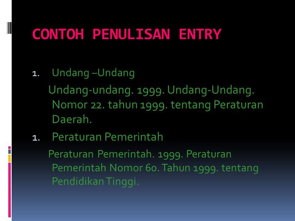 CONTOH PENULISAN ENTRY