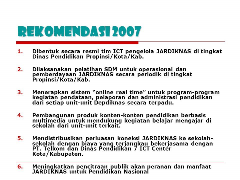 Rekomendasi 2007 Dibentuk secara resmi tim ICT pengelola JARDIKNAS di tingkat Dinas Pendidikan Propinsi/Kota/Kab.