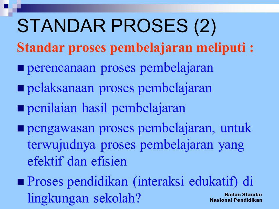 STANDAR PROSES (2) Standar proses pembelajaran meliputi :