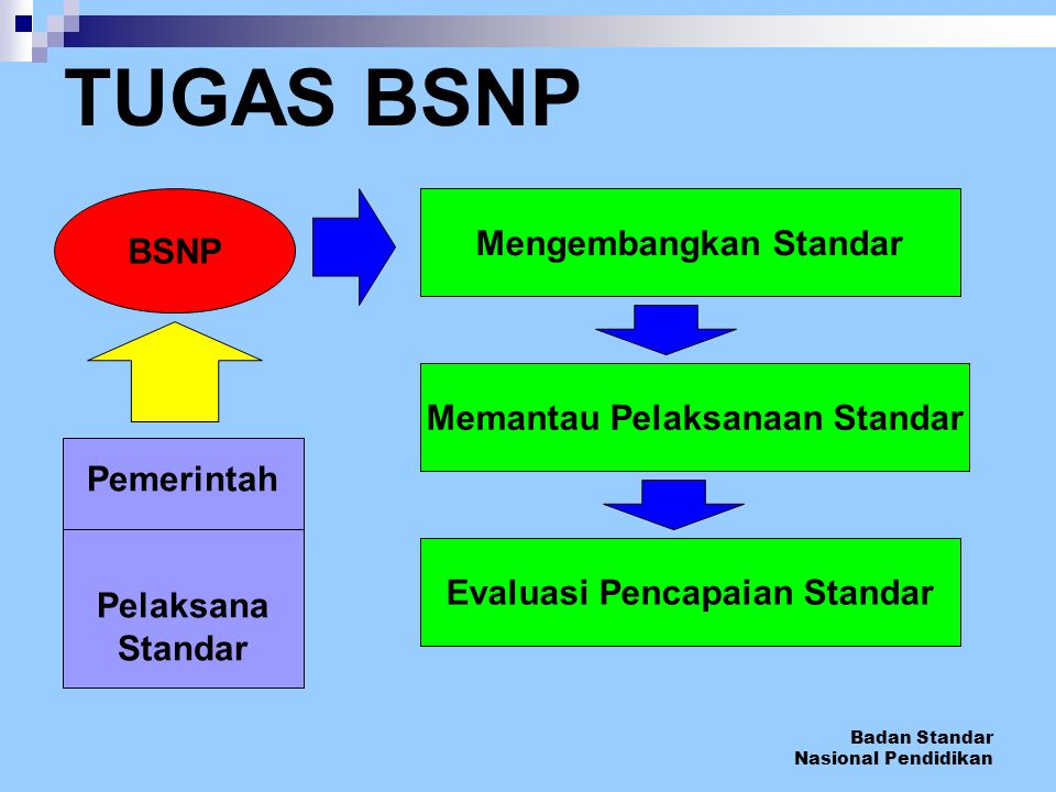 TUGAS BSNP Mengembangkan Standar BSNP Memantau Pelaksanaan Standar