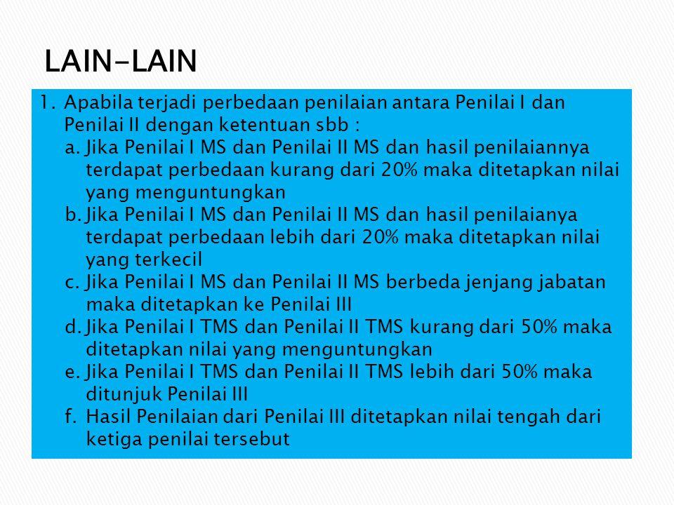 LAIN-LAIN Apabila terjadi perbedaan penilaian antara Penilai I dan Penilai II dengan ketentuan sbb :