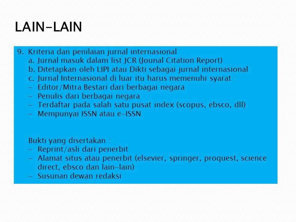 LAIN-LAIN Kriteria dan penilaian jurnal internasional
