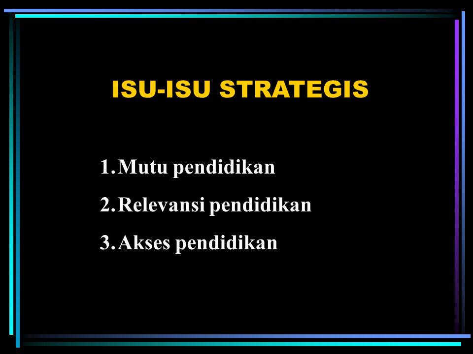 ISU-ISU STRATEGIS Mutu pendidikan Relevansi pendidikan