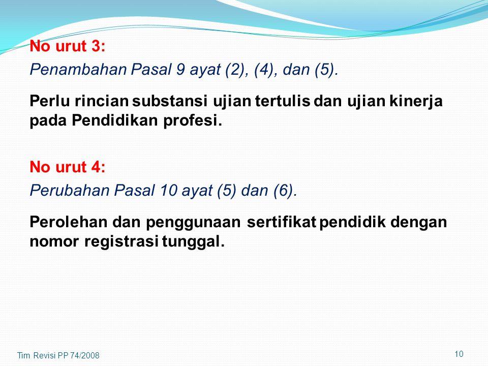 Penambahan Pasal 9 ayat (2), (4), dan (5).