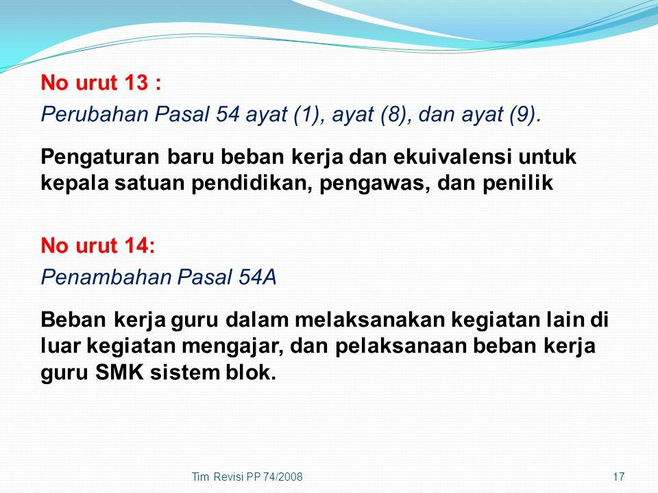 No urut 13 : Perubahan Pasal 54 ayat (1), ayat (8), dan ayat (9)