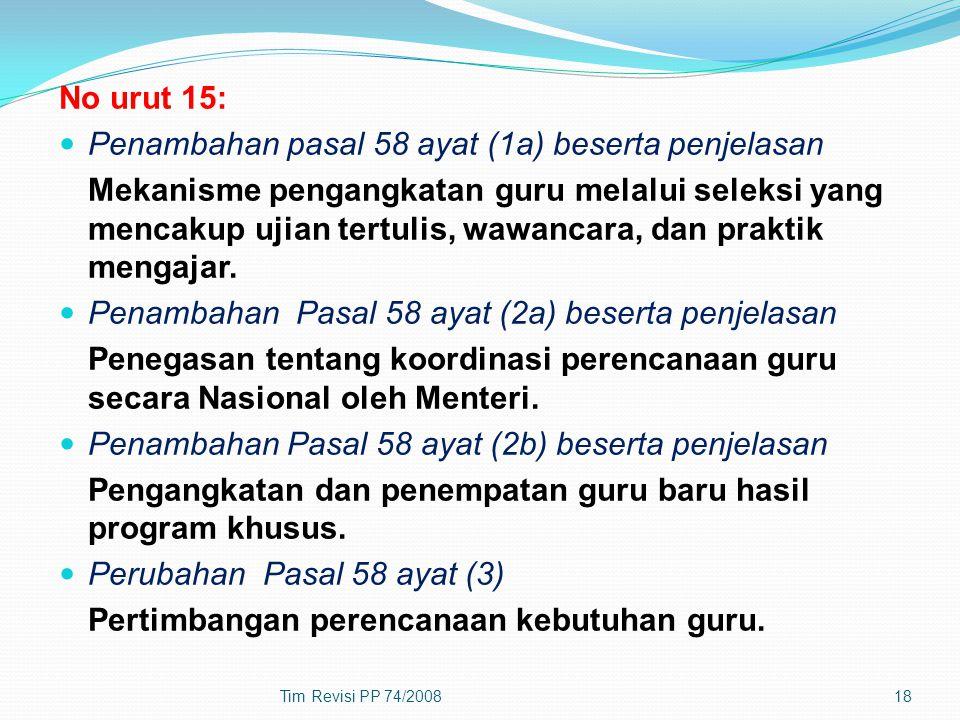 Penambahan pasal 58 ayat (1a) beserta penjelasan