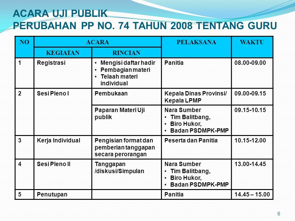 ACARA UJI PUBLIK PERUBAHAN PP NO. 74 TAHUN 2008 TENTANG GURU
