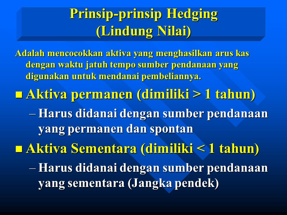 Prinsip-prinsip Hedging