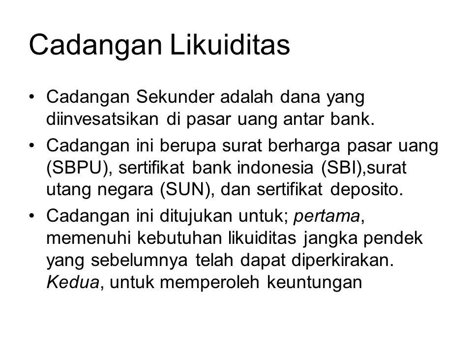 Cadangan Likuiditas Cadangan Sekunder adalah dana yang diinvesatsikan di pasar uang antar bank.