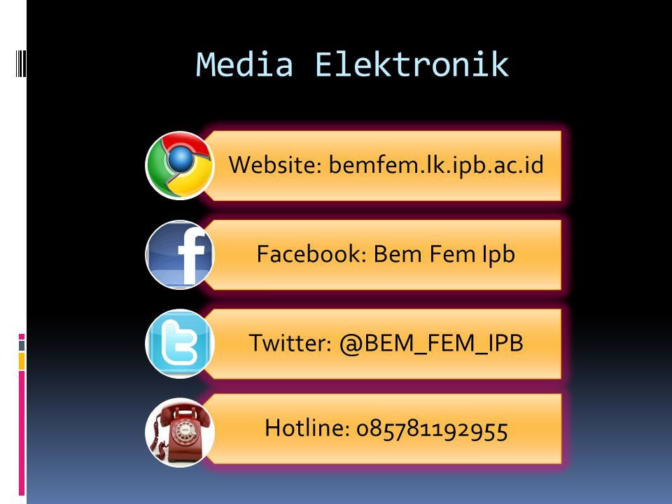 Media Elektronik Website: bemfem.lk.ipb.ac.id Facebook: Bem Fem Ipb