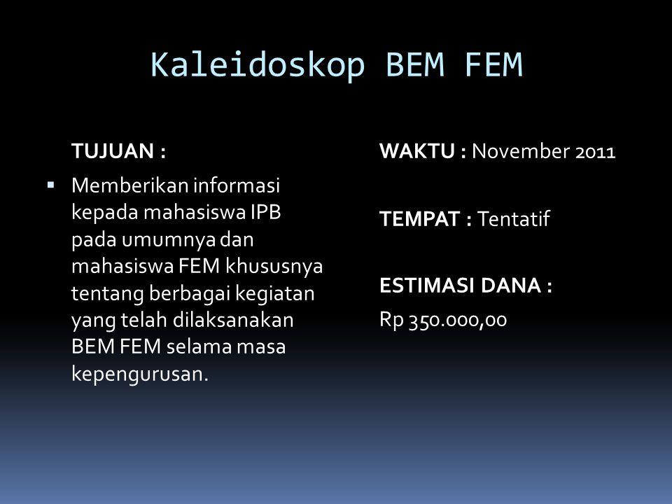 Kaleidoskop BEM FEM TUJUAN : WAKTU : November 2011
